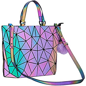 Geometric Handbag Luminous Women Tote Bag Holographich Purses and Handbags Flash Reflactive Crossbody Bag for Women (Small Handbag)