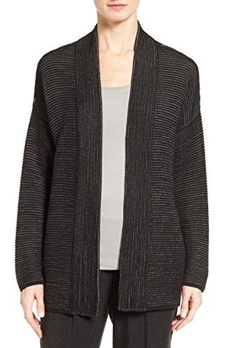 Eileen Fisher Silk-Blend Kimono Cardigan (Black, XS) ()