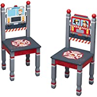 Fantasy Fields Little Fire Fighters Kids Wooden Hand Painted Set of 2 Chairs, Red/Little Fire Fighters