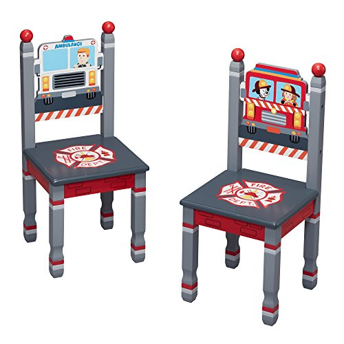Fantasy Fields Little Fire Fighters Kids Wooden Hand Painted Set of 2 Chairs by Fantasy Fields