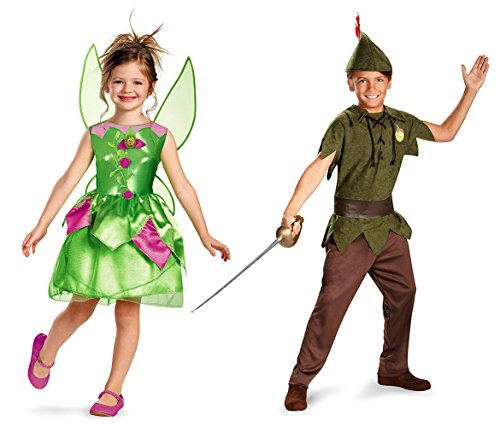 Peter Pan Wendy Tinkerbell Costumes (Mozlly Value Pack - Disney Tinker Bell Costume-M7-8 AND Peter Pan Costume-2 Item)