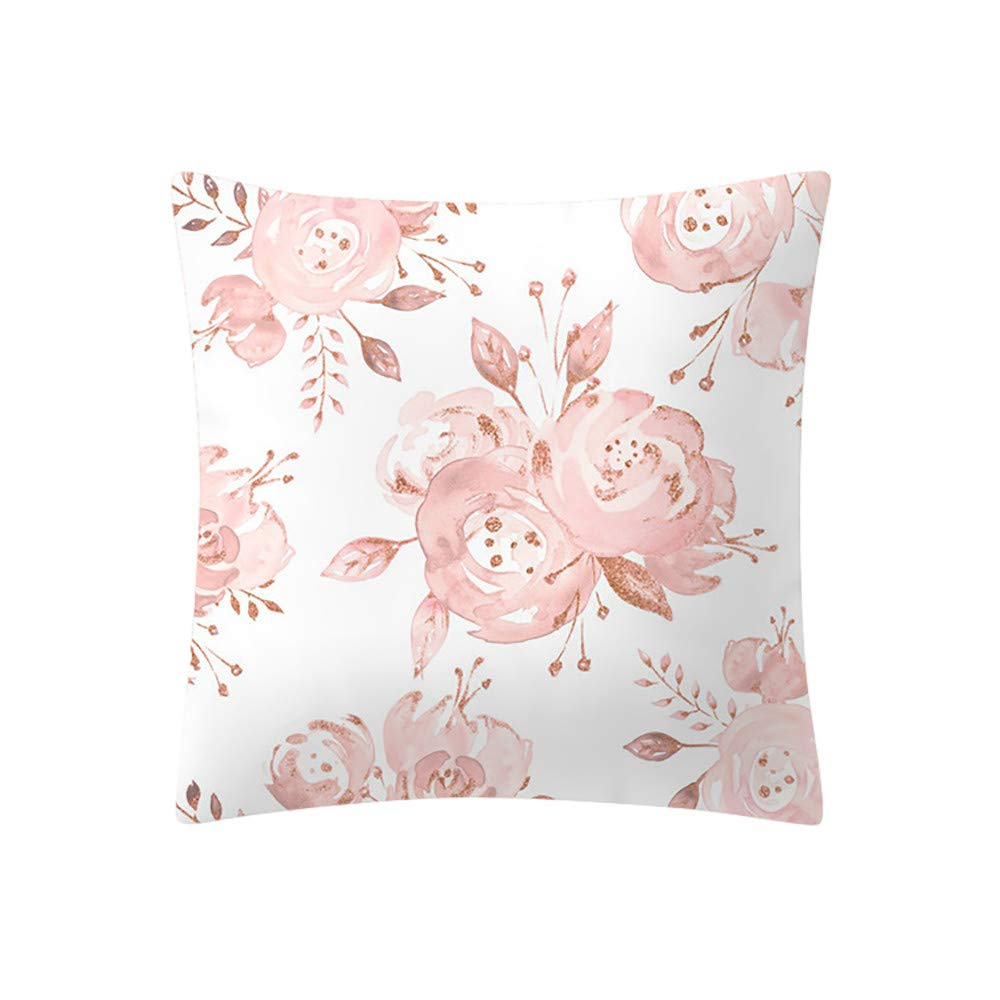 iZHH Rose Gold Pink Cushion Cover 18 x 18 inch Square Pillowcase Home Decoration