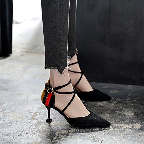 La Mujeres De Transversal Bellas Negro GAOLIM Zapatos Con Sandalias Punta Bota Tira Mujeres Color Tacón La De Cwqw10xnHT