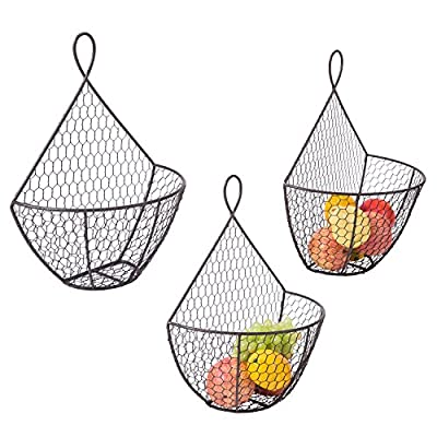 Wall Mounted Brown Metal Fruit Vegetable Baskets, Chicken Wire Hanging Produce Bins, Set of 3 - A decorative and convenient way to store produce. Features a chicken wire design ideal for storing and keeping fruits and produce fresh. Also suitable for storing small toys, shop rags, gloves, mittens, hats, towels, and more. - wall-shelves, living-room-furniture, living-room - 51XRD3AQkWL. SS400  -