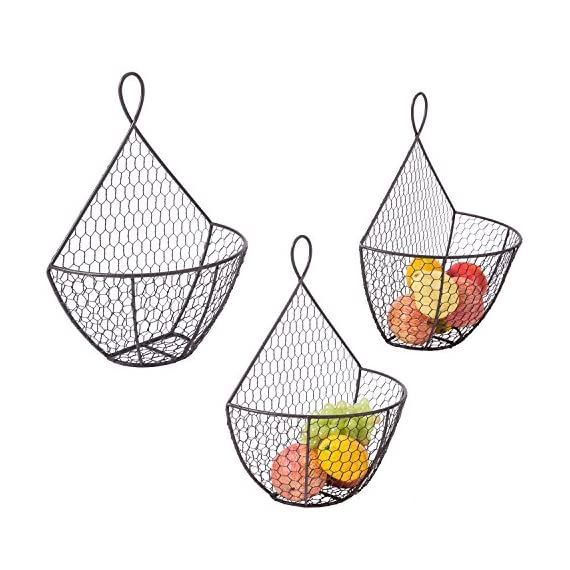 Wall Mounted Brown Metal Fruit Vegetable Baskets, Chicken Wire Hanging Produce Bins, Set of 3 - A decorative and convenient way to store produce. Features a chicken wire design ideal for storing and keeping fruits and produce fresh. Also suitable for storing small toys, shop rags, gloves, mittens, hats, towels, and more. - wall-shelves, living-room-furniture, living-room - 51XRD3AQkWL. SS570  -