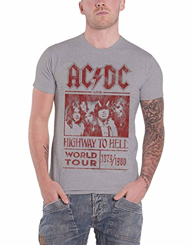 Ac/Dc T Shirt Highway To Hell World Tour 1979/1980 Official Mens Grey