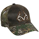 Outdoor Cap Men's Weathered Cotton Meshback Realtree Logo Cap, Dark Brown/Realtree Xtra Green, One Size