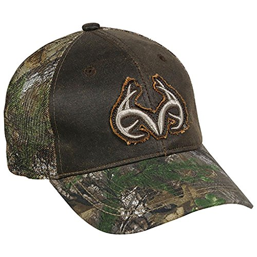 Outdoor Cap Men's Weathered Cotton Meshback Realtree Logo Cap, Dark Brown/Realtree Xtra Green, One Size by Outdoor Cap
