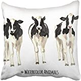 Throw Pillow Cover Square 18x18 Inches Cattle Watercolor of Cows Sketch Farm Animals Tee Graphic Silhouette Wildlife Vintage Book Etching Polyester Decor Hidden Zipper Print On Pillowcases