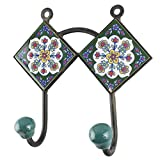 IndianShelf Handmade Ceramic White Floral Tile Wall Hooks/Holder/Hanger 1 Piece (HK-1444)