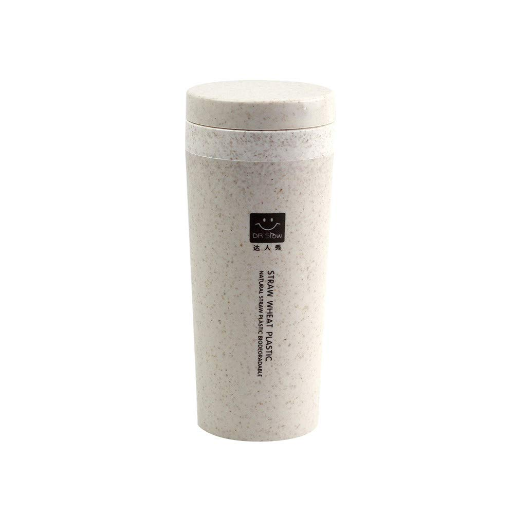 Insulated Mug With Lid, JDgoods Kitchen Wheat Straw Double Insulated Gift Mug Tumbler With Lid Eco-friendly For Gift (Beige)