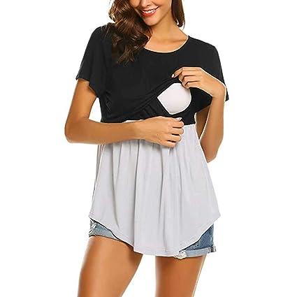 STRIR Camiseta De Mujeres Ropa para La Lactancia De Maternidad con Cuello Redondo a Color de