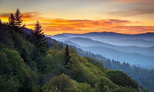 Oconaluftee Overlook - Smokey Mountains - Gatlinburg, Tennessee Unframed Vinyl Art Print - Perfect for indoors / outdoors. All-weather. (Unframed Vinyl)