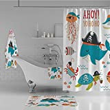 iPrint Bathroom 4 Piece Set Shower Curtain Floor mat Bath Towel 3D Print,Pipe Hook Crab Octopus Captain Starfish Swordfish,Fashion Personality Customization adds Color to Your Bathroom.
