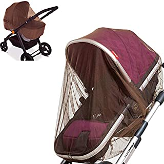 2 Pack Baby Mosquito Net for Strollers, Car Seats, Bassinets, Carriers and Cradles - Stretched up to 60 Inch in Length, Coffee