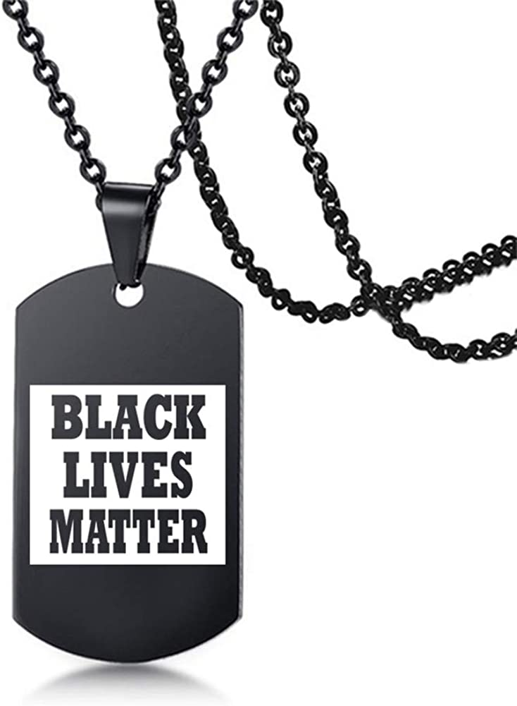 AMOLEY Pkiooi Black Necklace Black Lives Matter Necklace I Cant Breathe Pendant Metal Charm for Men and Women