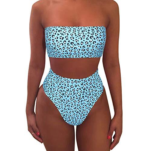 MOOSLOVER Women's Bandeau Bikini Leopard Print High Cut Strapless High Waist Bathing Suit(L,Blue-3364)