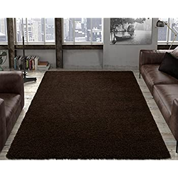 "Ottomanson Soft Cozy Color Solid Shag Area Rug Contemporary Living and Bedroom Soft Shag Area Rug, Brown, 53"" L x 70"" W"