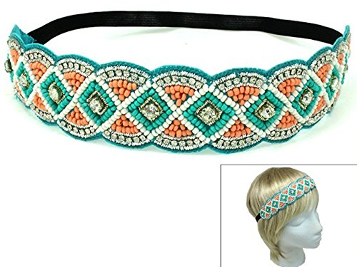 Rosemarie Collections Women's Rhinestone and Beaded Stretch Boho Chic Headband (Turquoise)