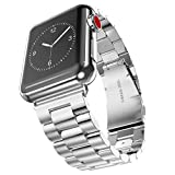 Boofab Apple Watch Band, Solid Stainless Steel Metal Apple Watch Strap Business Replacement iWatch Strap for Apple Watch Series 3 Series 2 Series 1 42MMSport and Edition (silver)
