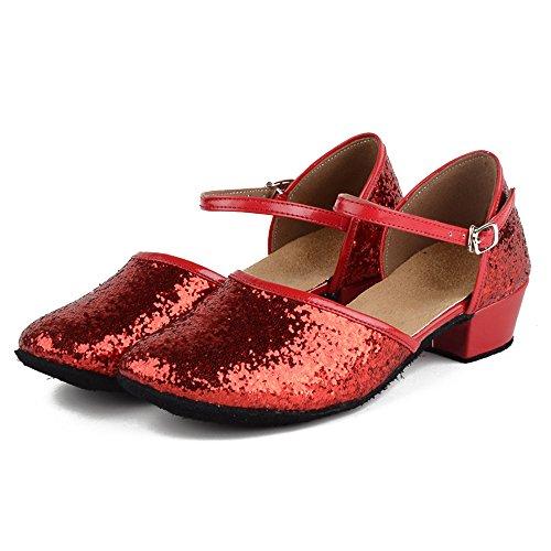 Shoes Stil 24 Flache Tanzschuhe Mädchen Bevorzugte Modern Latin Dance XFentech 40 Damen Rot Schnalle STv4X