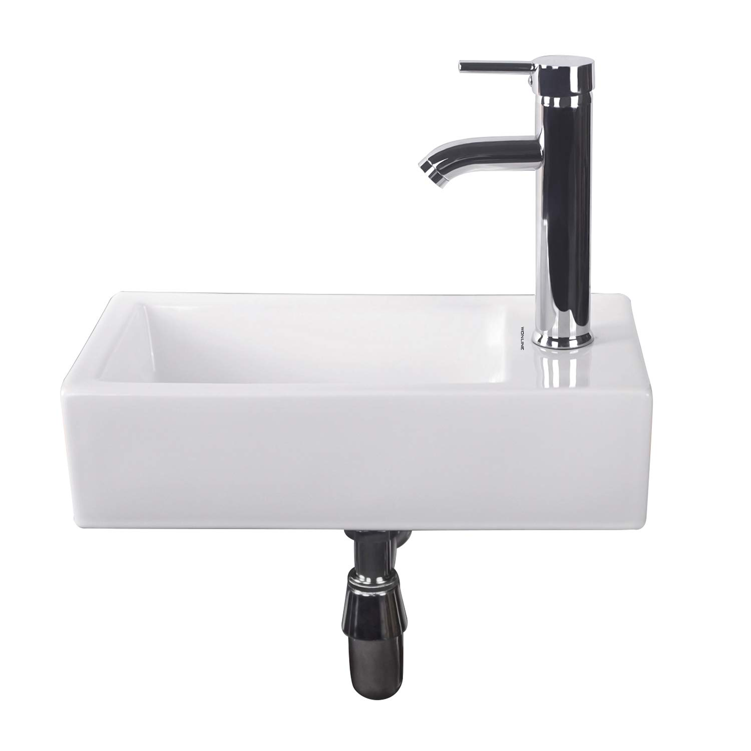 Walcut Bathroom Wall Mount Rectangle Corner Sink White Porcelain Ceramic Vessel Sink Chrome Faucet Combo