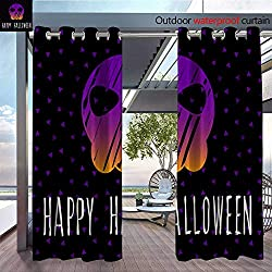 QianHe Outdoor CurtainHappy-Halloween-Card-Template-Abstract-Halloween-Pattern-for-Design-Card-Party-Invitation-Poster-Album-menu-t-Shirt-Bag-Print-etc-.jpg Room Darkening Waterproof Curtain for Ind
