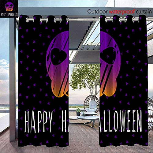 BlountDecor Indoor/Outdoor Single Panel Print Window Curtain Happy Halloween Card Template Abstract Halloween Pattern for Design Card Party i Silver Grommet Top Drape W96 x L108/Pair