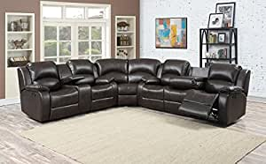 Samara 3- Sectional w/ 4 Recliners and storage Console