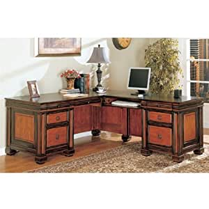 Home Office L Shaped Executive Desk In Dark Two Tone Finish By Coaster Furniture