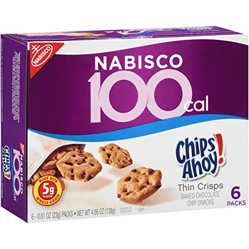 Nabisco 100 Cal Chips Ahoy! Thin Crisps Chocolate Chip Snacks, 6 Count Box, 4.86 Ounce