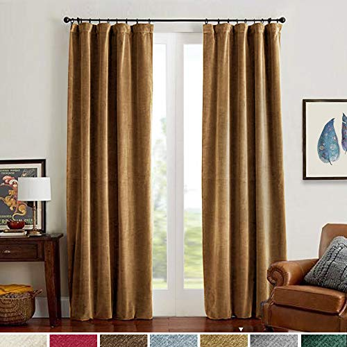 Velvet Curtains Gold Taupe Room Darkening Thermal Insulated Super Soft Luxury Drapes for Bedroom Rod Pocket Window Curtain for Living Room 2 Panels 52 by 108 Inch ()