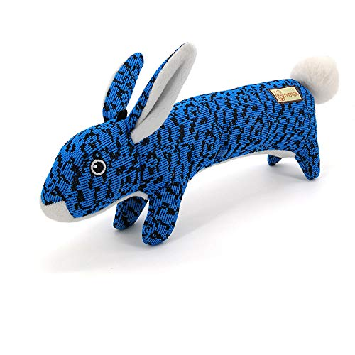 AXEN Bunny Durable Flyknit Dog Toy, Lovely Chewers, Interactive Squeakers, Blue Rabbit
