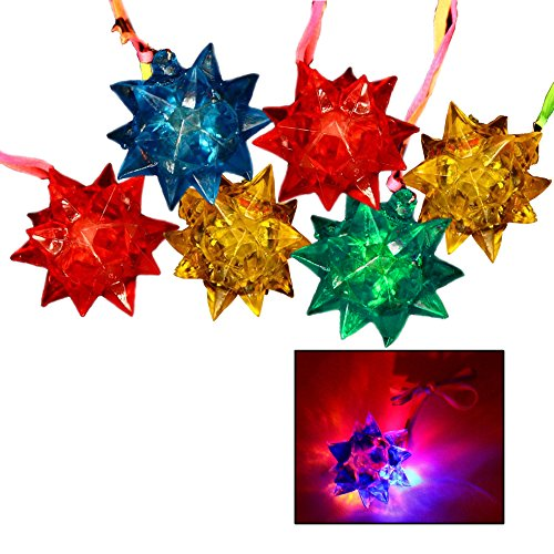 Toy Cubby Light-up Flashing Glowing LED Spiky Jelly Crystal Necklace - 12 pcs ()