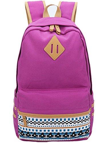 Leaper Casual Lightweight Canvas Laptop Bag Cute School Backpack Travel Bag (Large, Purple)