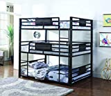 Coaster Rogen Collection 460394F Full Size Triple Bunk Bed with Built-In Ladder Slat