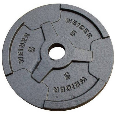Smooth, Coated Weights for Quiet Lifts Standard Hammertone Weight Plate, Black, 5lb