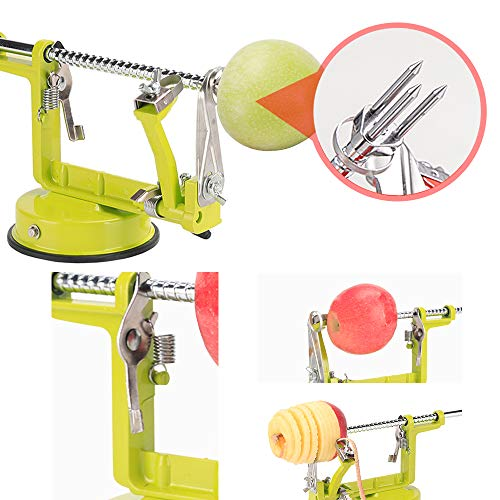 Apple peeler, Apple Peeler and Corer with Suction Base 3 in 1 Slinky Machine Durable Heavy Duty Die Apple Peelers Made In USA (Green)