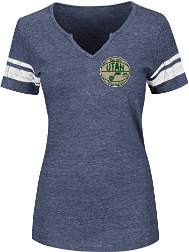 NBA Utah Jazz Women's Never Defeated Short Sleeve Notch Neck Tee, Medium, Athletic Navy Heather/White