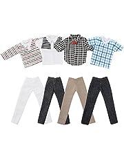 Asiv 4 Set Mini Moda Fatto a Mano Abbigliamento Casual Costume Manica Corta Pantaloni a Scacchi per Ken Bambole (Stili Casuali)