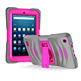 Amazon Fire 7 2017 Case, EpicGadget 7th Generation Fire 7 Heavy Duty Hybrid Wave Case Full Protection Cover with Kickstand and Built-in Screen Protector For Amazon Fire 7 (2017) (Gray/Pink)