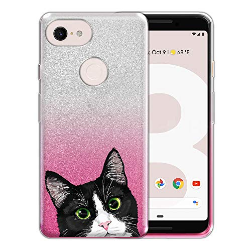FINCIBO Case Compatible with Google Pixel 3 (5.5 inch) 2018, Shiny Silver Pink Gradient 2 Tone Glitter TPU Protector Cover Case for Pixel 3 2018 (NOT FIT Pixel 3 XL 6.7 inch) - Black White Tuxedo Cat ()