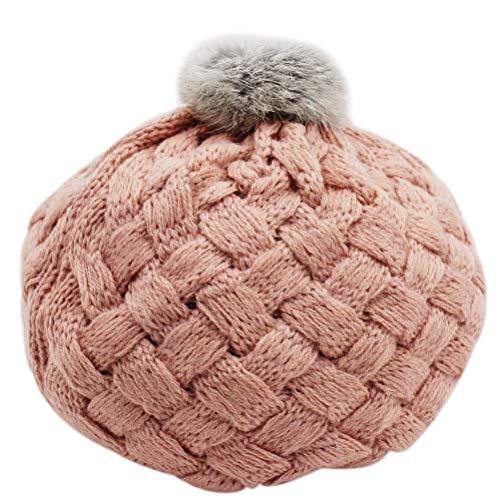 Aimeio Baby Girls Boys Winter Knit Crochet Beret Hat Kids Rib Pom Pom Beanie Cap