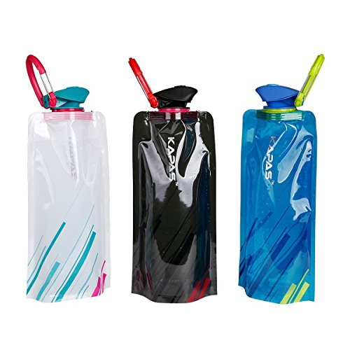 KAPAS Water Bottle, Kapas [3 Pack] Flexible Collapsible Foldable Reusable Outdoor 700ml Water Bottles