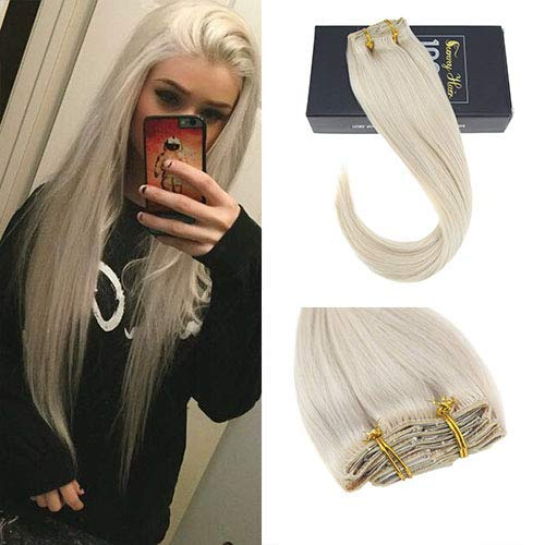 Sunny 20inch Remy Clip In Human Hair Extensions Platinum Blonde #60 Full Head Clip On Hair Extensions 7pcs/120g Per Package