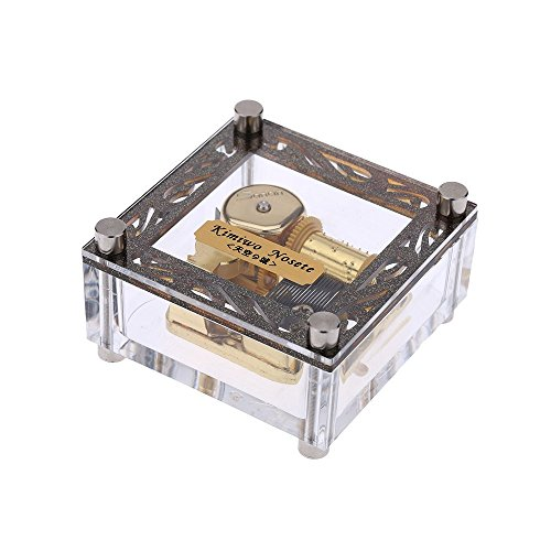 YouTang Acrylic Cubic Musical Box Windup Music Box with Melody Tag on Top 18 Notes Gold Movement, Different Melody Available (Love Story)