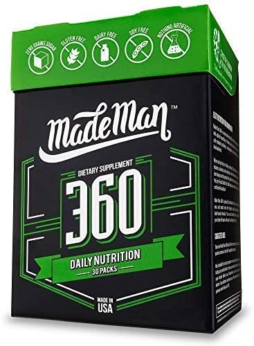 Made Man 360 Complete Daily Nutrition Packs for Men with Vitamins, Minerals, Omega-3s and Probiotics 30-day Supply, 30 Count