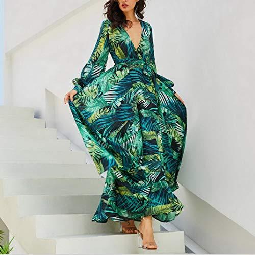 84f74bc22d8 Feuille Verte Femme Col Floral De Plage V Robe Vert Aoopoo Longue Vacances  Imprimé Bohême Maxi D été Ceinture 0BxqdwY
