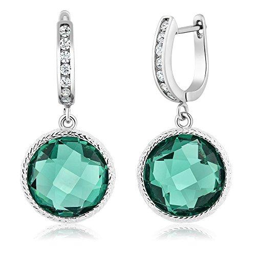 Gem Stone King 925 Sterling Silver Round Checkerboard Green Nano Paraiba Dangle Earrings (12.5 cttw, 12.00MM)