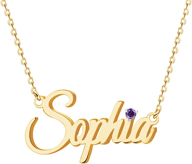 MOUNA 18ct Gold Plated Gifts Personalised Name Necklace Custom Heart Shaped